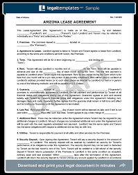 Arizona Residential Lease/rental Agreement Form & Template | Free Pdf