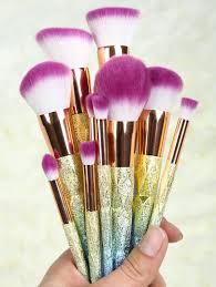 makeup brush set rose gold. ombre glitter makeup brushes set - rose gold brush rose gold