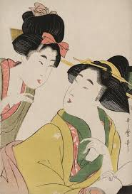 kitagawa utamaro hairdressing. ukiyo-e woodblock print of two women conversing. japan, by artist kitagawa utamaro hairdressing s