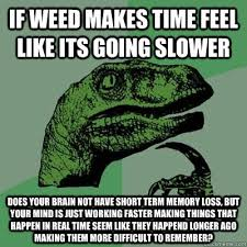 If weed makes time feel like its going slower Does your brain not ... via Relatably.com