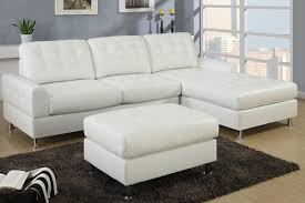 ... Modern Classic Cream Bonded Leather White Sectional Sofa With Chaise  Dark Soft And Warm Carpet Beautifull ...