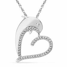t w diamond dolphin heart pendant in sterling silver