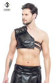 men eco leather gladiator harness with black piping