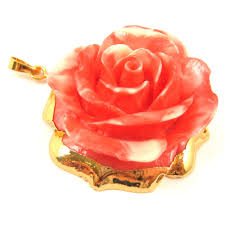 large rose pendant natural carved resin with 24k gold plated brass gold dipped rose red and white rose