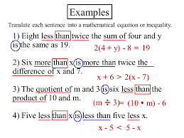 examples 1 eight less than twice the sum of four and y