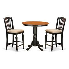 East West Furniture Jackson 3 Piece High Splat Dining Table Set