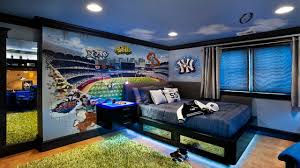 Awesome Teenage Boy Bedroom Decorating Ideas With Lovely Wallpaper And  Cool Recessed Ceiling Light Plus Black