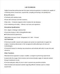 Fashionable Lab Tech Resume 9 Lab Technician Resume Template