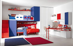 teen bedroom furniture ideas. red and blue bunk beds from teen bedroom furniture placed in wide room with computer ideas