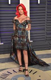fire halsey showed off her new scarlet tresses as she made a glamorous arrival to