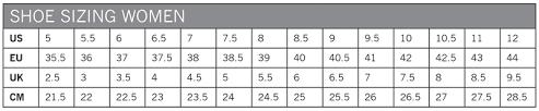 Shoe Size Chart Mens To Womens Us Pearl Izumi Size Chart