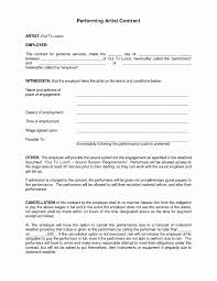 Artist Agreement Contract Artist Agreement Template Lovely Unusual Band Performance Contract 6