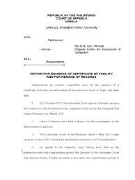 Motion For Certificate Of Finality Remand Court Procedure