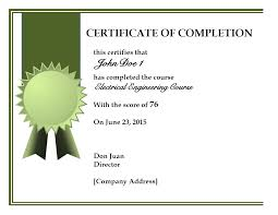 Certificates Of Completion Templates Certificate Of Completion Template 13 Templates Excel Formats Blank