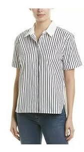 EQUIPMENT Femme Paulette Short Sleeve Top Shirt Button Down White Black  Eclipse | eBay