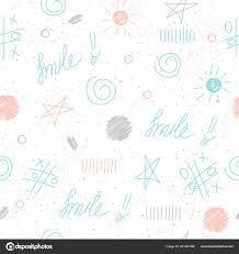 Doodle Elementen Naadloze Achtergrond Abstracte Kinderachtig Blauw