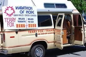 for into the wind the first terry fox run <p>the camper van that terry fox slept in during his run across