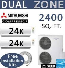 energy star 48000 btu dual zone mini split air conditioner 24000 x 2 dual zone senville mini split 48000 btu ac air conditioner w heat pump