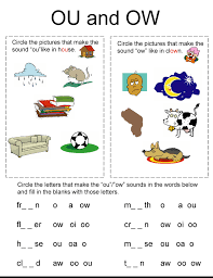 Say a sound and children identify the correct letter(s) by circling/colouring. Ou Ow Phonics Worksheets Jaimie Bleck
