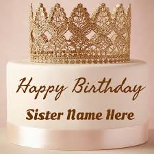 Write Name On Princess Birthday Cake For Sister