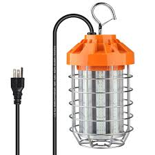 Led Temp Construction Lights 60w Led Construction Lights 8100lm 5000k Outdoor Temporary Lighting Led Portable Work Light Fixture With Stainless Steel Guard And Hook For Job Site