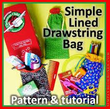 diy drawstring bag with lining