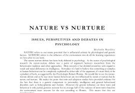child essay nature versus nurture theories of the nature versus nurture debate psychology essay