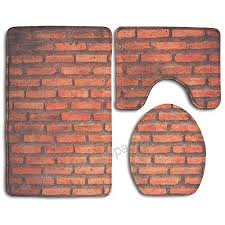 zhiqiandf background of brick wall texture white non slip 3 piece bath rug set pedestal rug