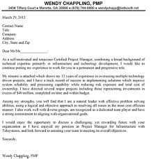 Cover Letter Design Sample Cover Letter Project Manager Position