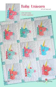 Applique Quilt Patterns – Cabbage Rose & Baby Unicorn – downloadable PDF pattern Adamdwight.com