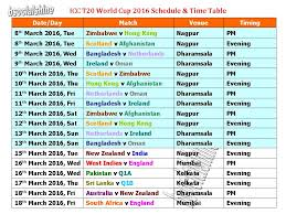 Learn New Things T20 World Cup 2016 Schedule Time Table