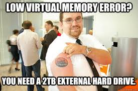 Low virtual memory error? You need a 2tb external Hard drive ... via Relatably.com