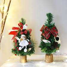 Mini Pine Tree Christmas Ornaments Tree For Hotel Home Office Christmas Tree Luxurious Christmas Decoration With Pine Cone Bow Doll Rabbit