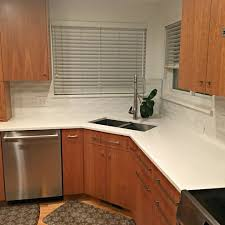 Natural Cherry Cabinets Caesarstone Organic White Kitchen Contemporary With Natural Cherry