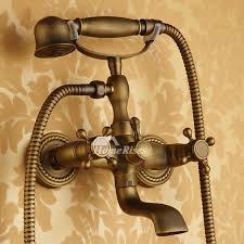 clawfoot tub faucet antique brass wall