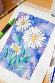 draw paint a daisy in watercolour photo tutorial with written steps via surelysimple