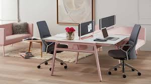 Home office desk systems Hansflorine Bivi Modular Desk System In Pink Finish With Desks And Rumble Seat Attachments Fabric Tackboard Screens And Massaud Conference Chair In Grey The Family Handyman Bivi Collection Of Modular Office Desk Systems Workspace