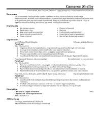 Paralegal resume example
