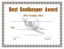 Football Certificate Template Adorable Best Goalkeeper Award Certificate Template Free Download