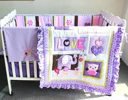 pink elephant baby crib bedding 7 pieces set purple embroidery owl cotton include quilt per bed