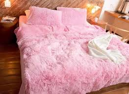 51 full size solid pink princess style 4 piece fluffy bedding sets duvet cover