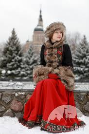 wool coat bordered with fake fur refers to the russian national costume theme for available in red wool black wool by meval armstreet