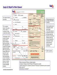 Fedex International Air Waybill Fillable Fill Online Printable
