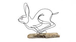 Running rabbit wire sculpture hare wire sculpture bunny art