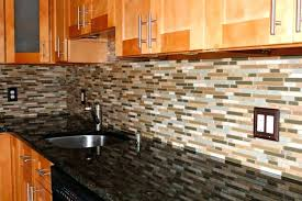 black granite and decorative glass mosaic tile using oak cabinet for formal kitchen ideas pictures backsplash