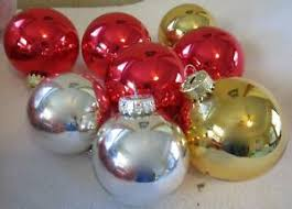 Details Zu Lot Of 8 Red Gold Silver Glass Ball Christmas Tree Ornaments