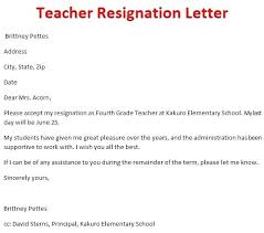 Resignation Letter Format For A Teacher Copy Resume Samples For