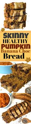 skinny healthy pumpkin banana chocolate chip bread with added chia seeds for fibre super moist and delicious