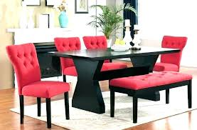 black and red dining table set round black glass dining table with red chairs