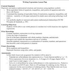 Format For Lesson Plans Example Lesson Plan Writing Expressions Download